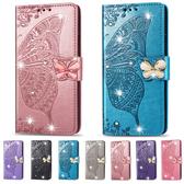 三星 J6+ J4+ 磁扣水晶蝴蝶 手機皮套 掀蓋殼 插卡 支架 可掛繩 保護套