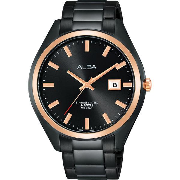 ALBA雅柏 城市情人時尚手錶-黑x玫塊金框/42mm VJ42-X250K(AS9F82X1)