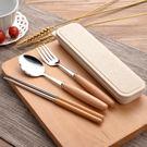 木質 不鏽鋼餐具組 三件組 筷子 湯匙 ...