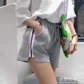 夏季韓版寬鬆休閒褲百搭條紋運動褲繫帶寬管褲短褲女學生 可可鞋櫃