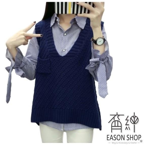 EASON SHOP(GU8713)經典百搭單口袋側邊開衩V領馬甲不規則無袖針織毛衣背心女上衣服寬鬆顯瘦短版修身