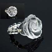 【喨喨飾環】玫瑰花戒指天然水晶手工雕刻 S223