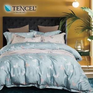 【貝兒居家寢飾生活館】100%萊賽爾天絲兩用被床包組(雙人/輕新派藍 )