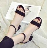 韓版顯瘦一字扣涼鞋中跟高跟FA04650『時尚玩家』