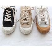 韓系街頭休閒板鞋 超百搭休閒綁帶帆布鞋老爺鞋 艾爾莎 【TSB8836】