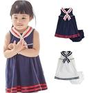 Augelute Baby童衣 海軍無袖洋裝+小內褲女童套裝 20011