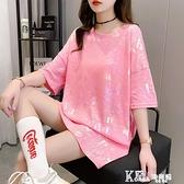 T恤 網紅超火短袖t恤女韓版寬鬆中長款亮閃閃歐貨大版個性上衣服潮