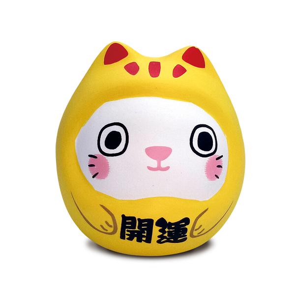 【金石工坊】七小福達摩貓-黃色開運 招財貓 陶瓷擺飾 開運擺飾 辦公開運 公仔