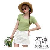 EASON SHOP(GW2714)實拍純色短版露肚臍坑條紋圓領短袖針織衫女上衣服彈力貼身內搭衫修身顯瘦藍色