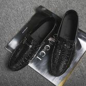 2019春季新款男鞋休閒鞋鱷魚紋亮皮男懶人套腳鞋商務潮流豆豆鞋男