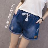 夏季女裝松緊腰寬松破洞牛仔短褲 JD1092 【3C環球數位館】