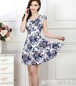 中年媽媽裝中老年連身裙35-40-45-50歲大碼婦女裝短袖花裙子夏裝      橙子精品