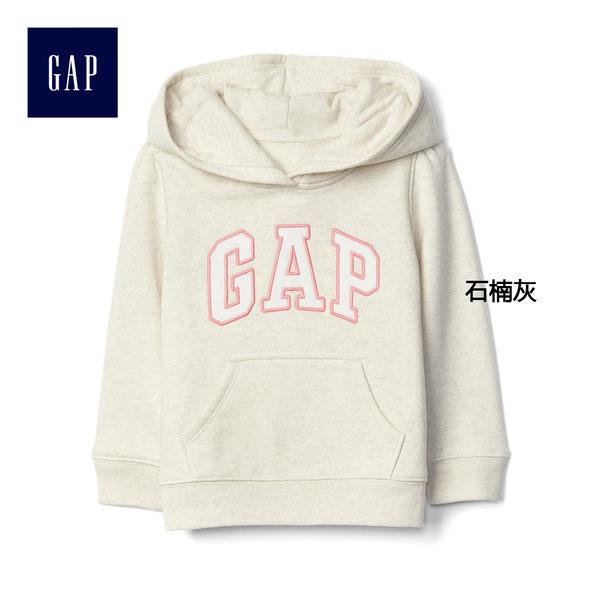 Gap女嬰幼童 logo基本款連帽長袖休閒上衣 851512-石楠灰