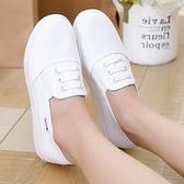 厚底鞋 春夏厚底白色一腳蹬帆布鞋老北京布鞋板鞋平跟護士鞋女休閒小白鞋 晶彩