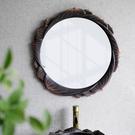 化妝鏡 中式浴室鏡子禪意蓮花壁掛衛生間梳妝洗漱臺貼墻化妝創意藝術裝飾 維多原創
