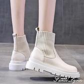 網紅瘦瘦鞋馬丁靴女潮ins英倫風春秋單靴夏季薄款透氣厚底短靴子 范思蓮恩