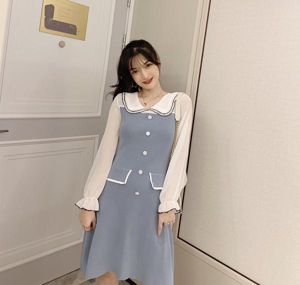 VK旗艦店 韓國風淑女優雅娃娃領單排扣長袖洋裝
