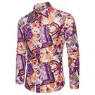 FINDSENSE H1秋季 新款 日本  碎花圖案 亞麻 大碼 氣質顯瘦花襯衫