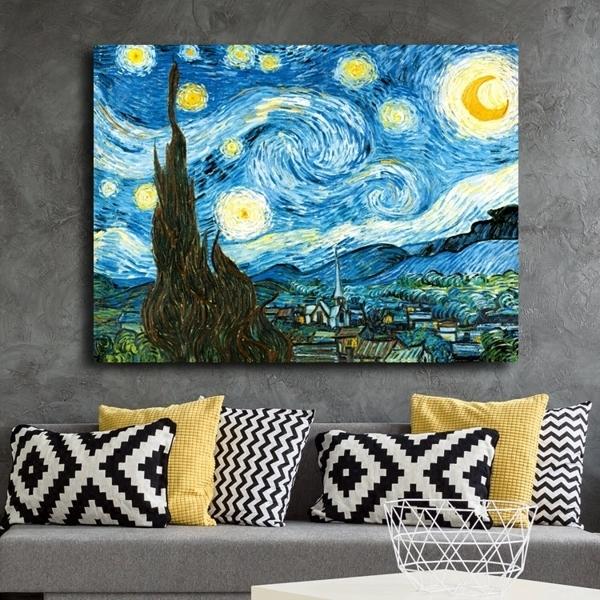 50*70cm梵高星夜羅納河無框畫現代裝飾畫客廳臥室掛墻畫【步行者戶外生活館】
