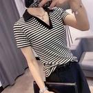 短袖POLO衫 超火條紋歐洲站2021夏季新款翻領POLO衫百搭純棉V領顯瘦短袖t恤女