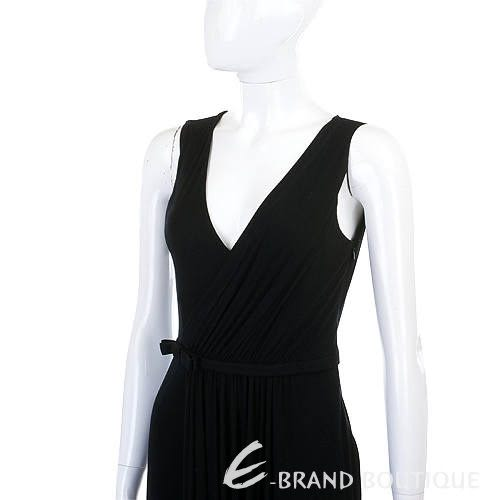 LOVE SEX MONEY 黑色抓褶V領無袖洋裝 0940454-01