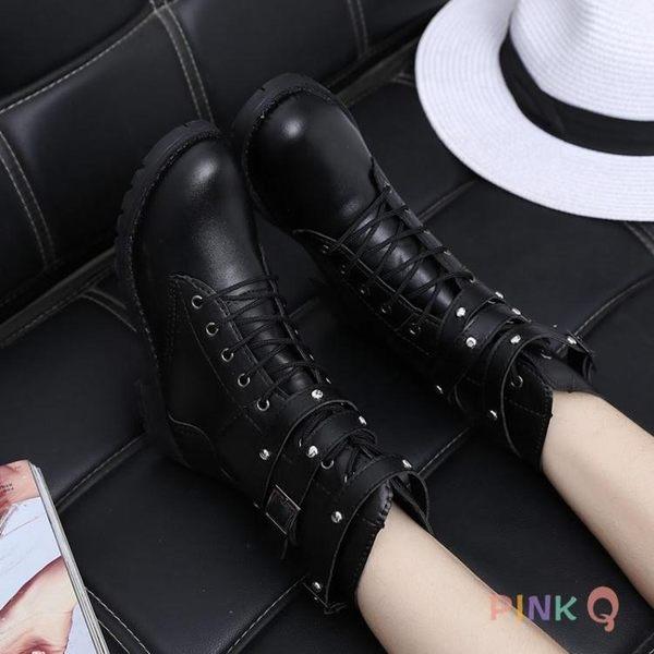 現貨清出中筒馬丁靴高幫英倫皮靴子休閒歐美機車靴大碼【PinkQ】1-31