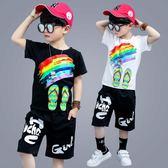2018新款韓版時尚百搭帥氣有型短袖男童夏裝運動套裝 js623『科炫3C』