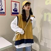 早秋2020新款韓版外搭V領學院風針織衫女薄款設計感寬鬆溫柔上衣 【雙十一】