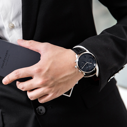 Nordgreen 42mm 極黑鱷魚紋錶帶 Pioneer先鋒 北歐設計師手錶 藍寶石鏡面 計時碼錶 月光銀殼 極夜黑錶盤