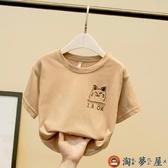 男童T恤短袖韓版兒童上衣體恤百搭打底衫夏季【淘夢屋】
