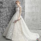 主婚紗禮服2018新款一字肩顯瘦公主夢幻超仙森系新娘出門紗輕拖尾 魔方數碼館igo