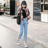 九分高腰直筒牛仔褲女寬鬆韓版學生bf百搭闊腿初戀褲 『夢娜麗莎精品館』