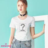 【SHOWCASE】休閒圓領問號縫鑽百搭棉質T恤(白色)
