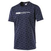 Puma Logo 男 深藍 印花 短袖 運動上衣 短T 棉T 運動 休閒 柔軟 舒適 短袖上衣 58177406