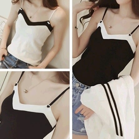 EASON SHOP(GU1863)黑色白色撞色細肩帶背心拼色條紋大露背露肩顯瘦性感針織吊帶背心女短款內搭衫