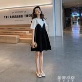 (免運)孕婦裝洋裝夏季短袖中長款寬鬆大碼純棉孕婦裙