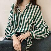 ZUCAS~(GU-8353)氣質撞色條紋前排釦假口袋雪紡泡泡袖長袖襯衫內搭衫