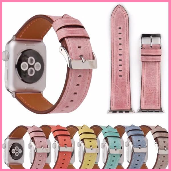 蘋果手錶帶apple watch清新風 真皮表帶 iwatch1/2/3代運動錶帶 復古休閒 時尚潮流 e起購