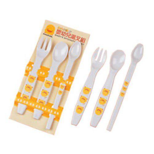 【奇買親子購物網】黃色小鴨嬰幼兒湯匙叉組(3入)