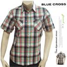 【大盤大】女 BLUE CROSS 純棉 短袖 M號 格子 格紋襯衫 Shirt 格子 休閒 蘇格蘭 百貨正品 精品