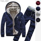 [現貨] 高磅內裏絨毛貼牌點綴保暖外套 + 棉褲 兩件套裝組合 連帽外套加絨加厚 大尺碼【QZZZ03012】