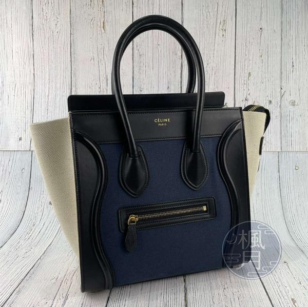 BRAND楓月 CELINE 167792 米白色 拼接藍 皮革 皮質 帆布 LUGGAGE MICRO 冏包 手提包
