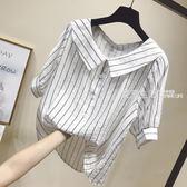 棉麻上衣 夏新寬鬆娃娃領小衫清新豎條紋襯衫短袖棉麻襯衣女學生上衣潮·夏茉生活