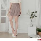 《CA2054-》造型腰頭後鬆緊優雅純色A字裙 OB嚴選
