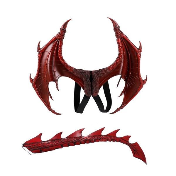 萬聖節 兒童紅色龍翅膀+尾巴 恐龍 表演道具 翅膀 cosplay 橘魔法 現貨 角色扮演 攝影 舞台劇
