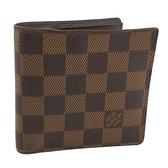 【奢華時尚】LV N61675 咖啡色棋盤格紋帆布4卡零錢袋短夾(八成新)#24061
