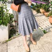 中大尺碼  不規則魚尾擺格紋長裙 - 適XL~4L《 65327D 》CC-GIRL
