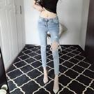 窄管褲 高腰破洞九分小腳褲牛仔褲時尚緊身顯瘦乞丐褲子女裝-Ballet朵朵