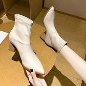 裸靴 短靴女高跟春秋單靴2021秋冬新款尖頭粗跟裸靴中筒網紅瘦瘦靴彈力 寶貝計畫