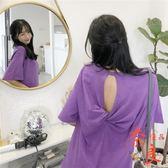 短袖T恤夏裝女韓版蹦迪素色露背百搭寬鬆顯瘦上著【奈良優品】